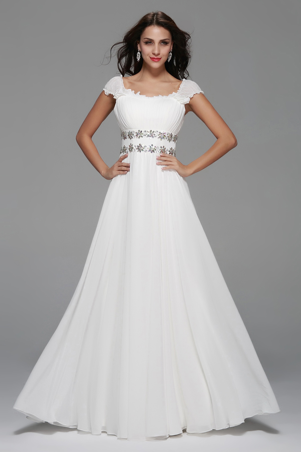 Empire Cap Sleeve Beading Long A-line White Chiffon Prom Dress