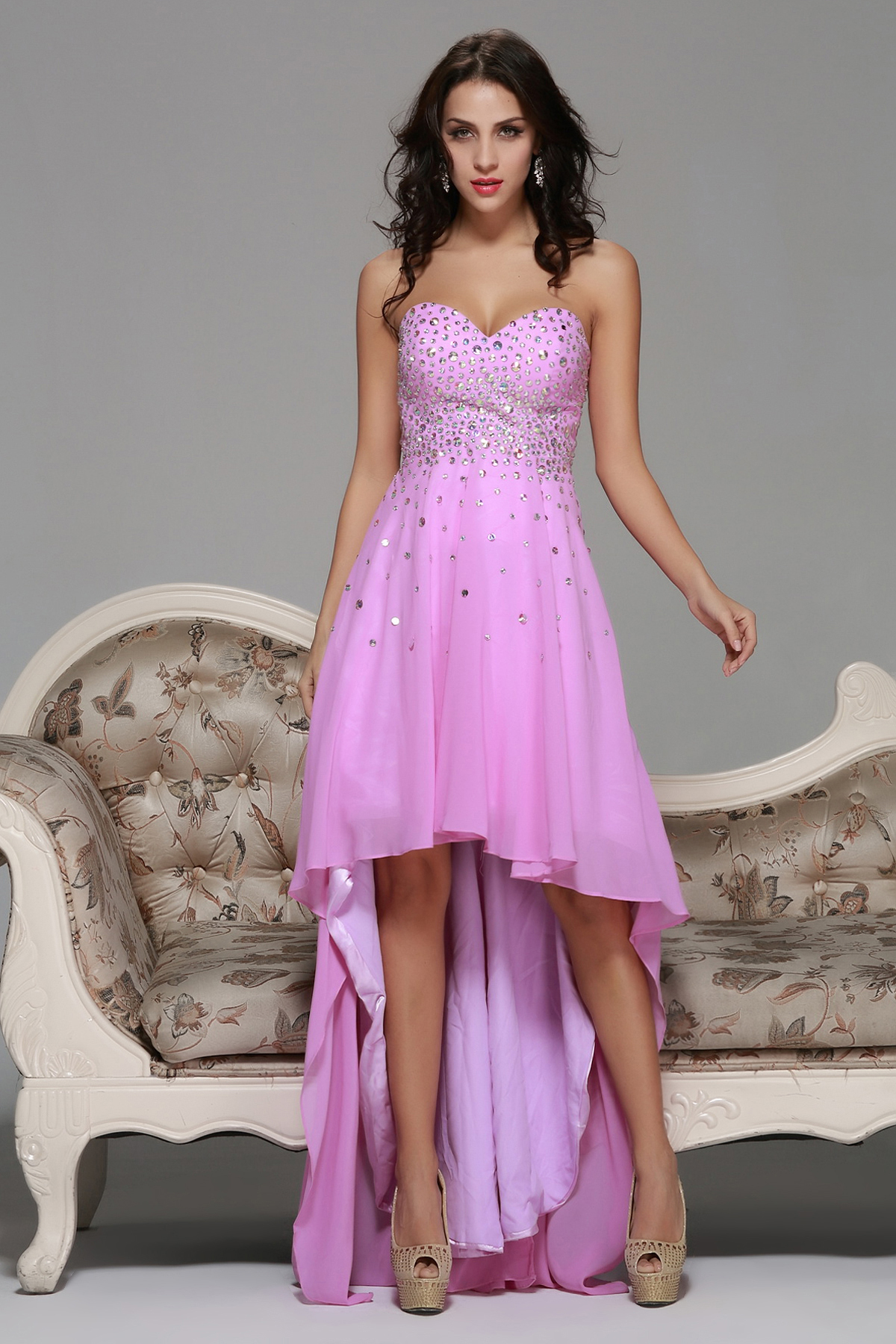 High Low Strapless Sweetheart Beading A-line Long Pink Chiffon Prom Dress