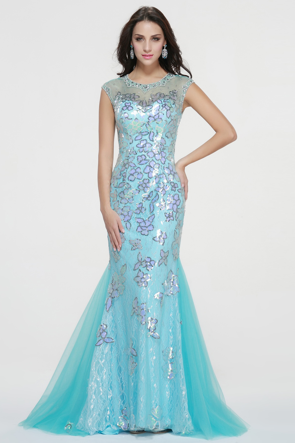 Illusion Neck Trumpet Long Flower Lace Blue Tulle Prom Dress