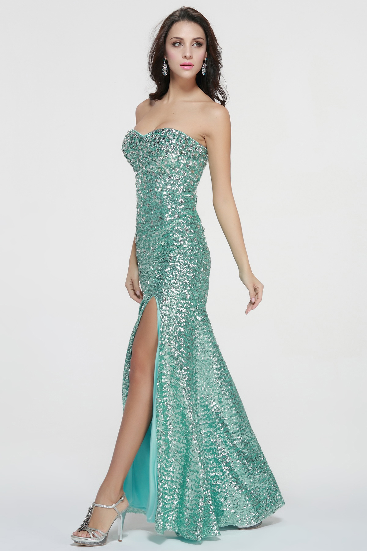 High Slit Front Long Sequin Prom Dress