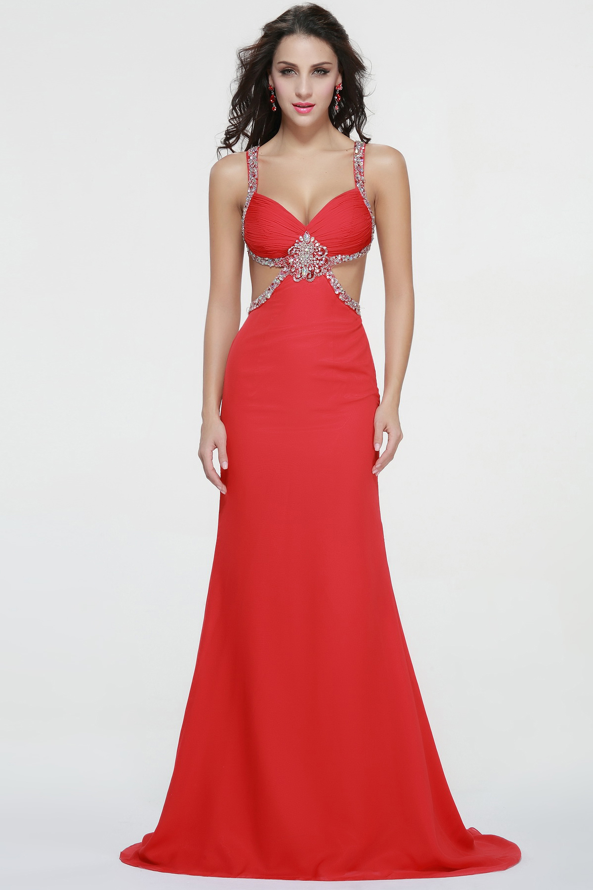 Sexy Shoulder Straps Beading Long Red Chiffon Prom Dress