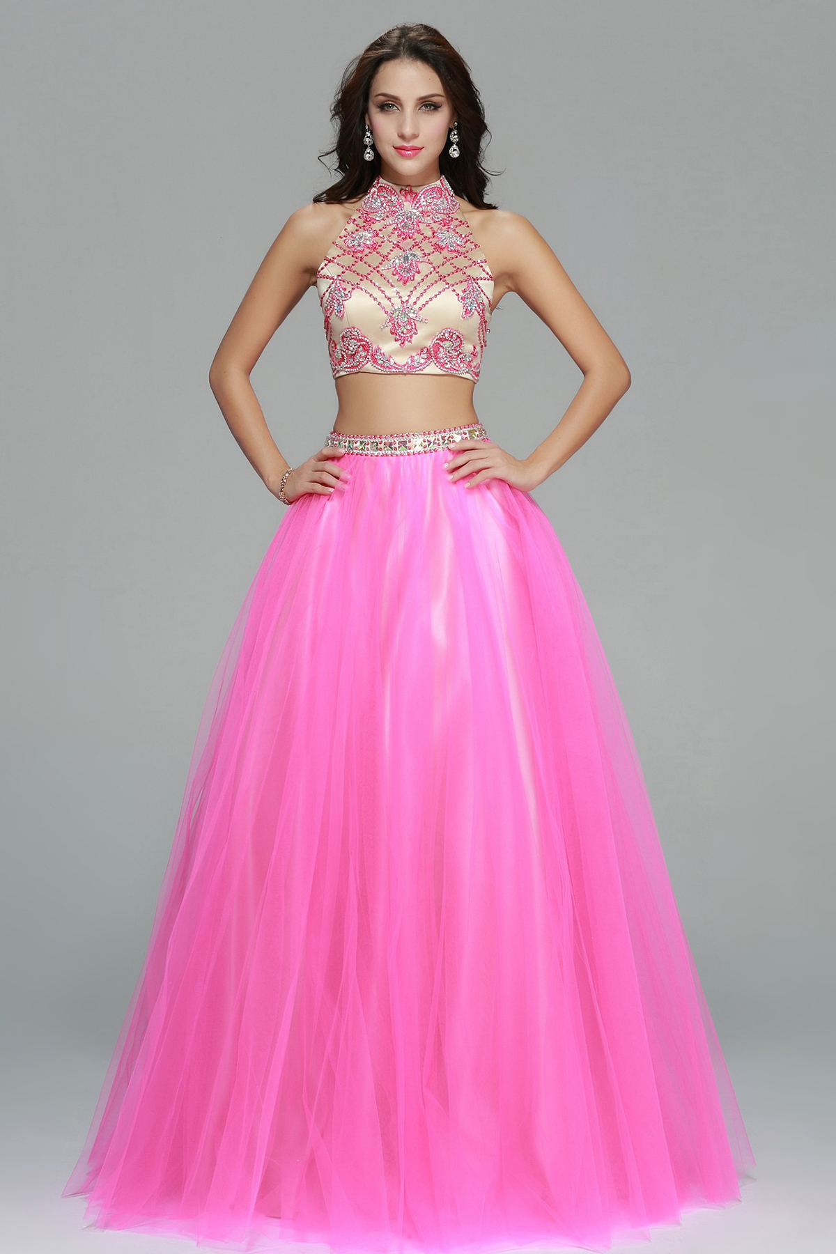 Two Piece Beading Bodice High Neck A-line Long Tulle Prom Dress