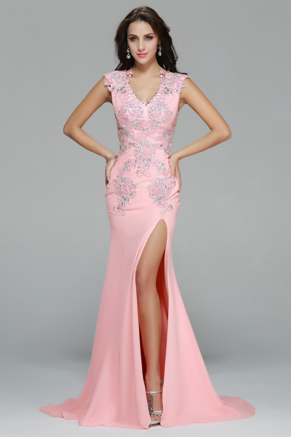 Split Front Long Chiffon Full Back Prom Dress with Beading