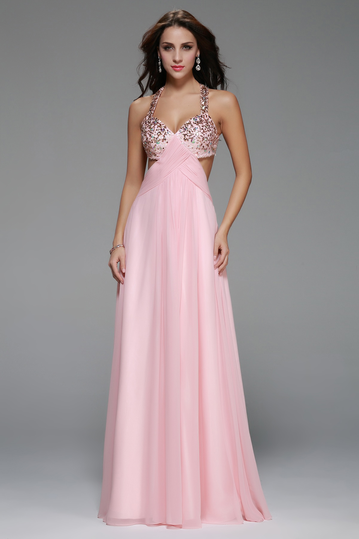 Shoulder Straps Beading A-line Long Pink Chiffon Prom Dress