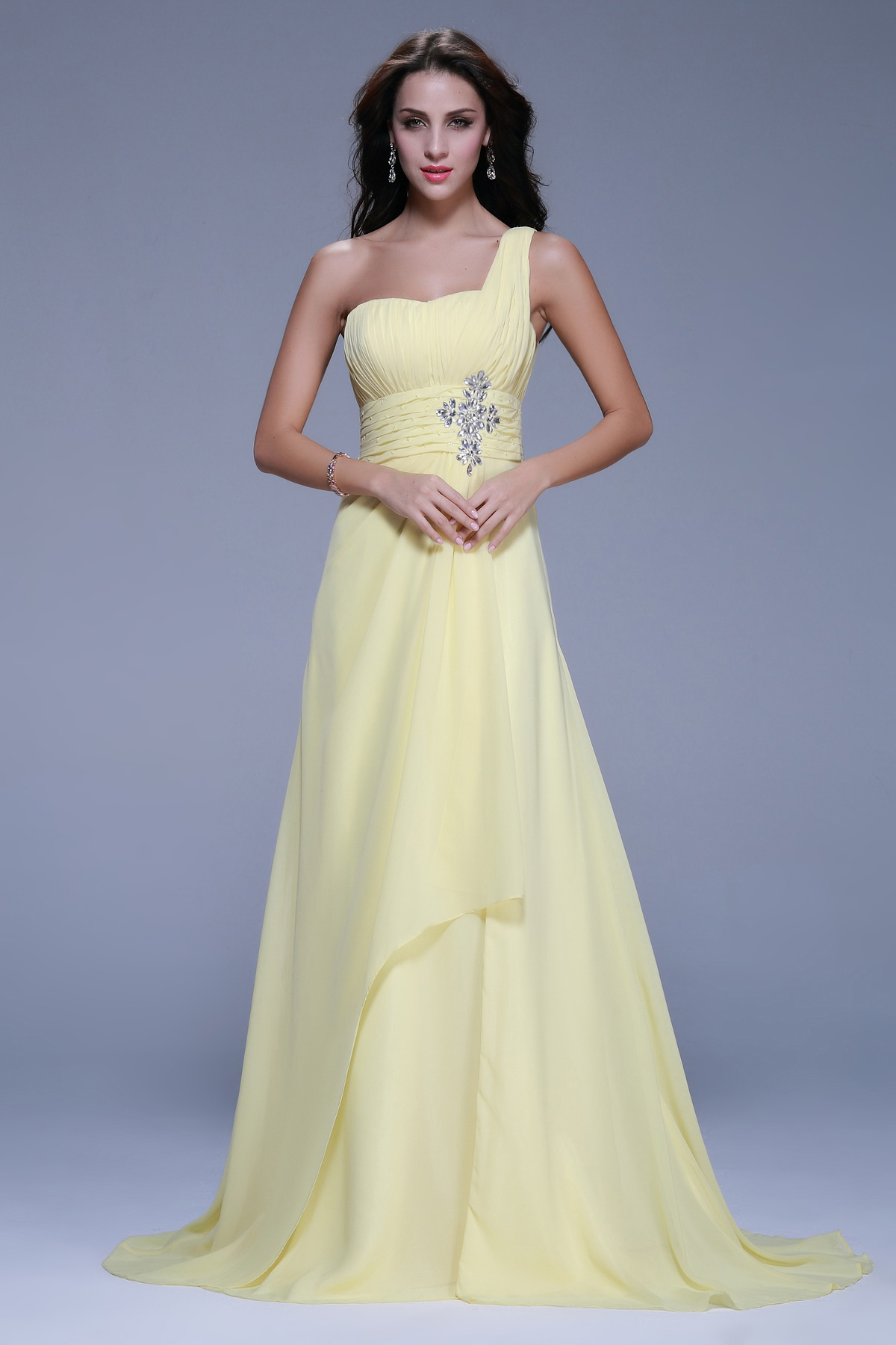 Sleeveless One Shoulder Beading A-line Long Chiffon Junior Prom Dress