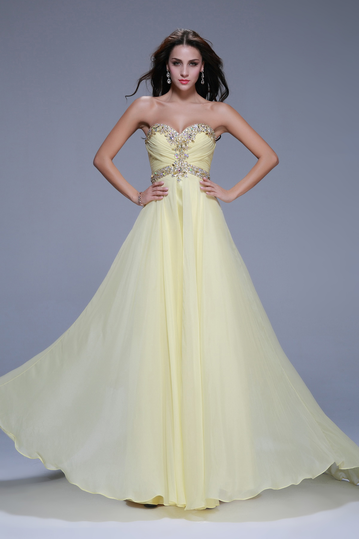 Strapless Sweetheart Beading A-line Long Chiffon Junior Prom Dress
