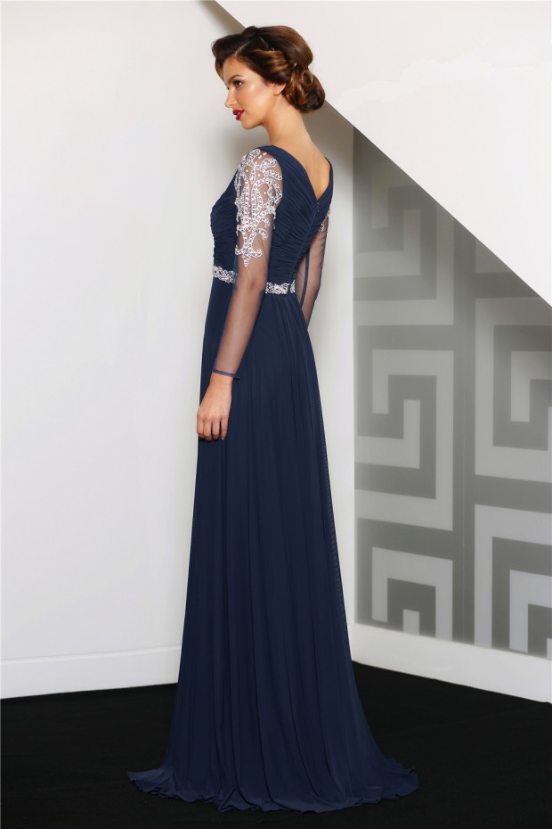 Long Sleeve Beading Lace A-line Chiffon Evening Dress with Ribbon