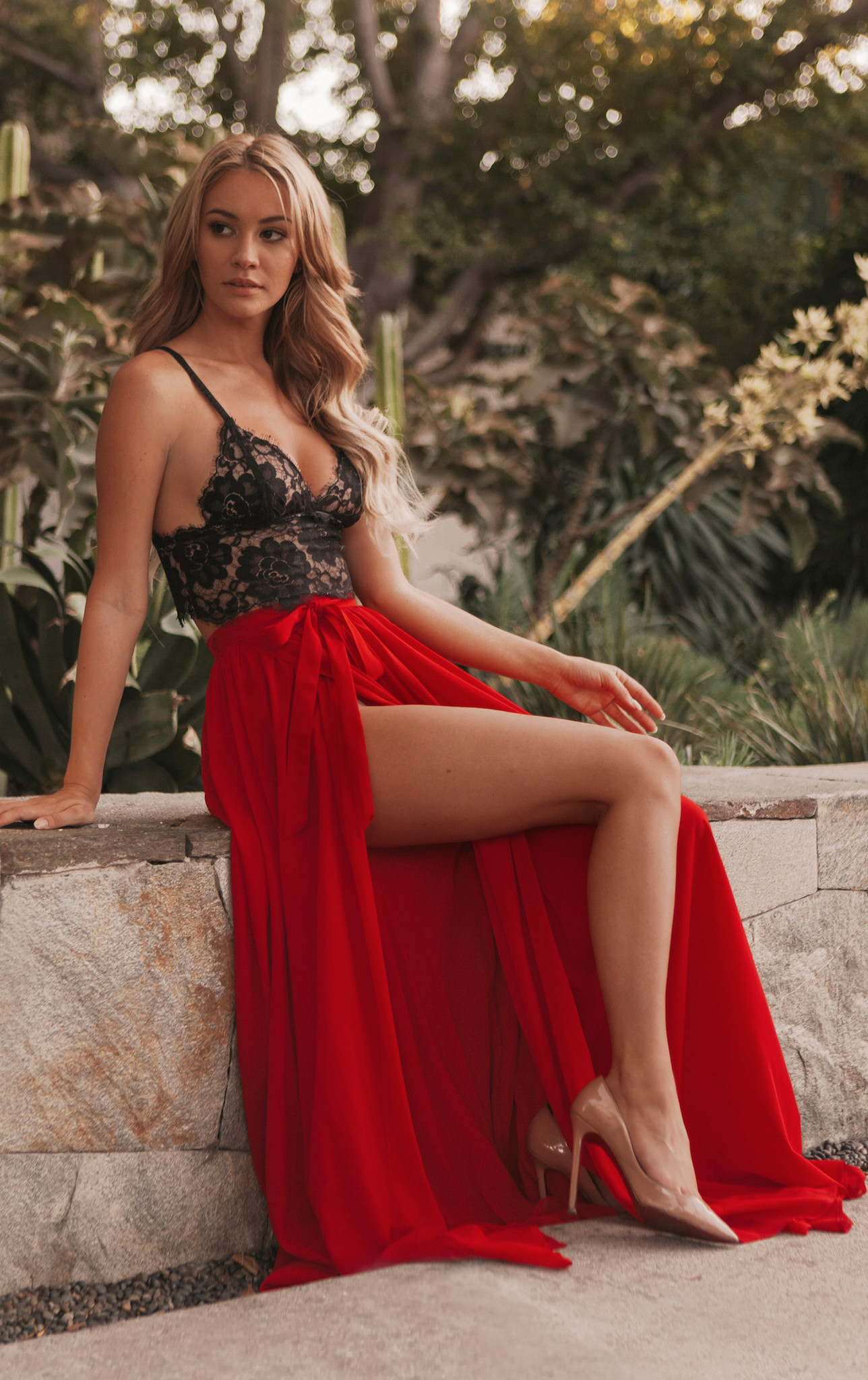 Sexy Two Piece Red Lace Bodice Long Front High Slit Chiffon Prom Dress
