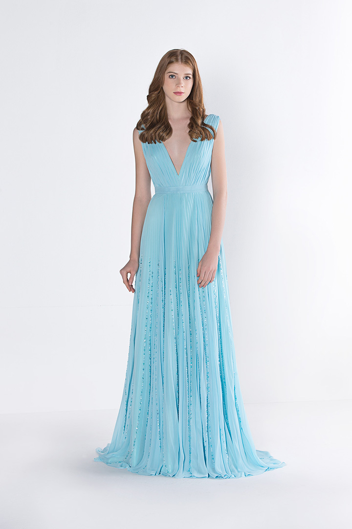 Ice Blue Sleeveless V Neck Long Sequin Chiffon Prom Dress