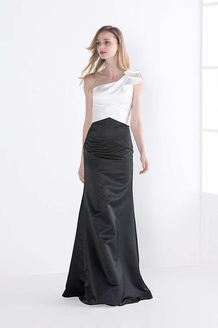 Sleeveless One Shoulder White and Black Long Satin Prom Dress