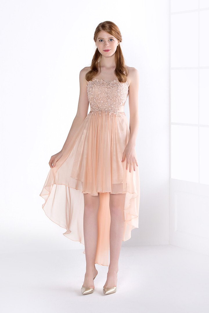 High Low Strapless A-line Chiffon Prom Dress