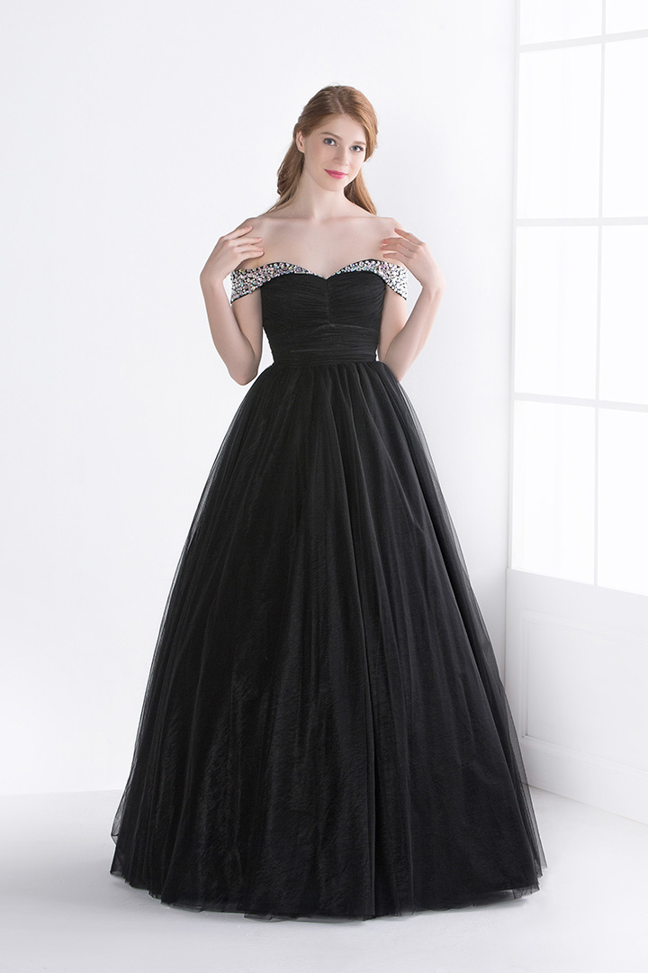 Black Off Shoulder Beading Ball Gown Black Tulle Long Prom Dress