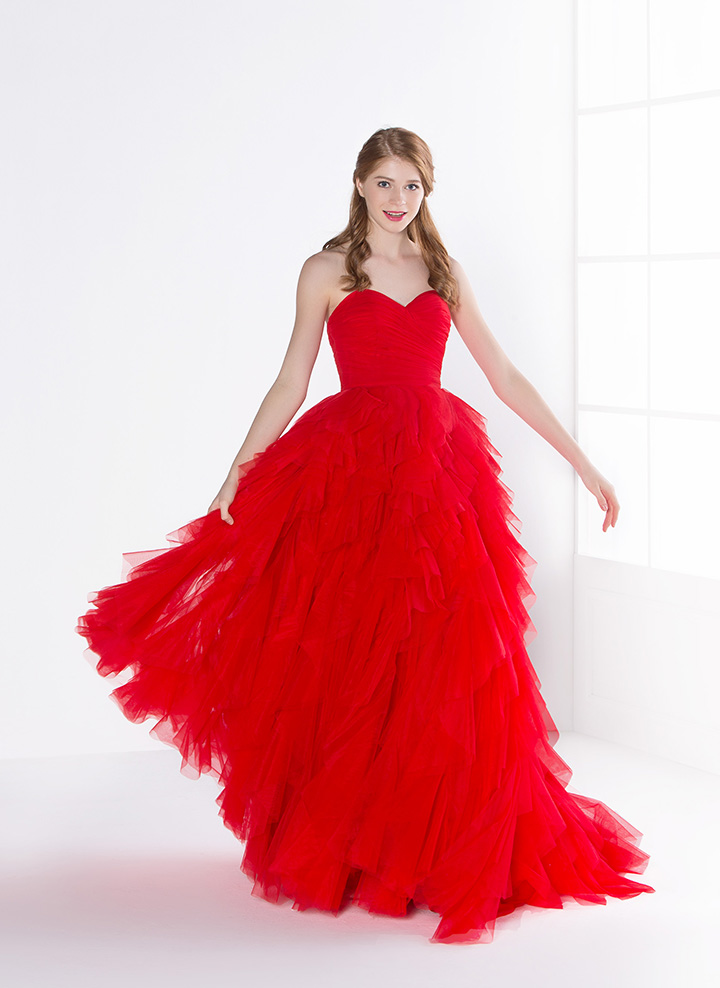 Simple Red Elegant Strapless Pleated Bodice Ball Gown Tulle Prom Dress with Ruffles