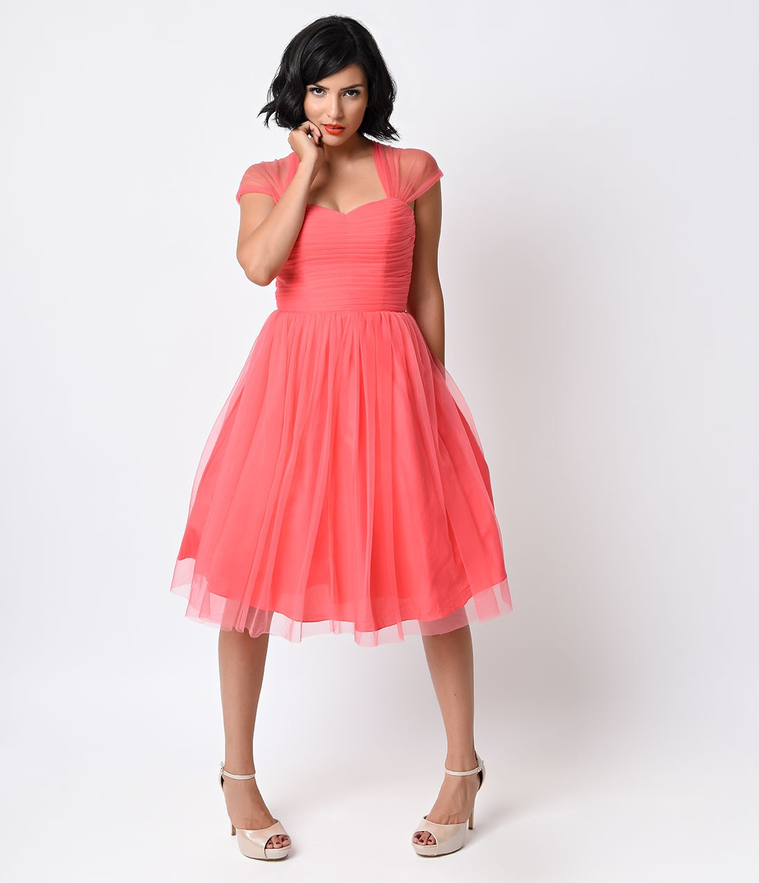 Vintage Queen Anne Neck Pleated Tea Length Tulle Prom Dress