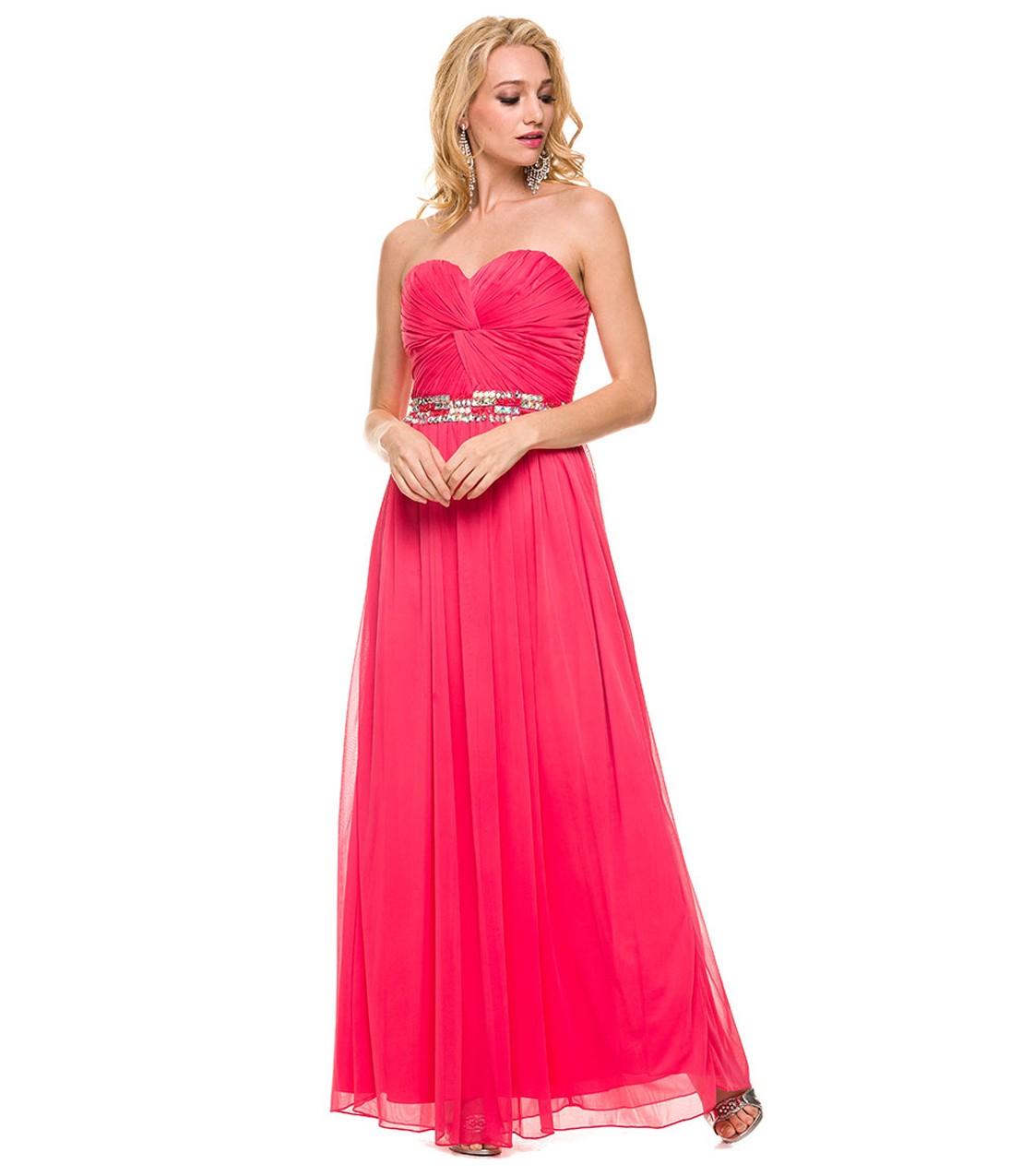 Elegant Pleated Long Watermelon Chiffon Prom Dress with Crystal Belt