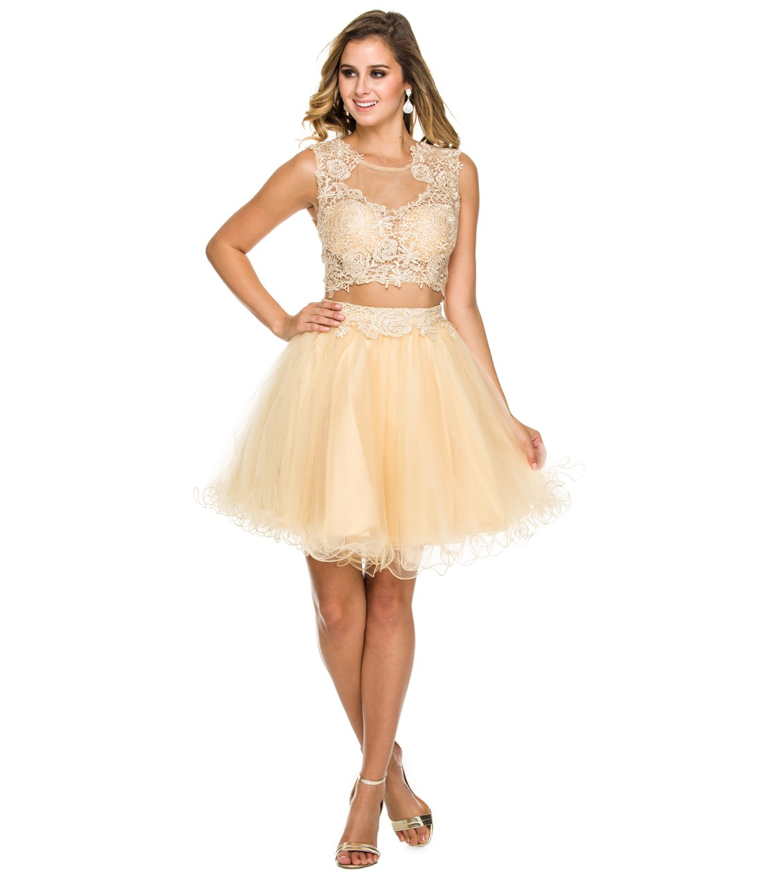 Chic Two Piece Illusion Jewel Neck A-line Lace overlay Tulle Prom Dress