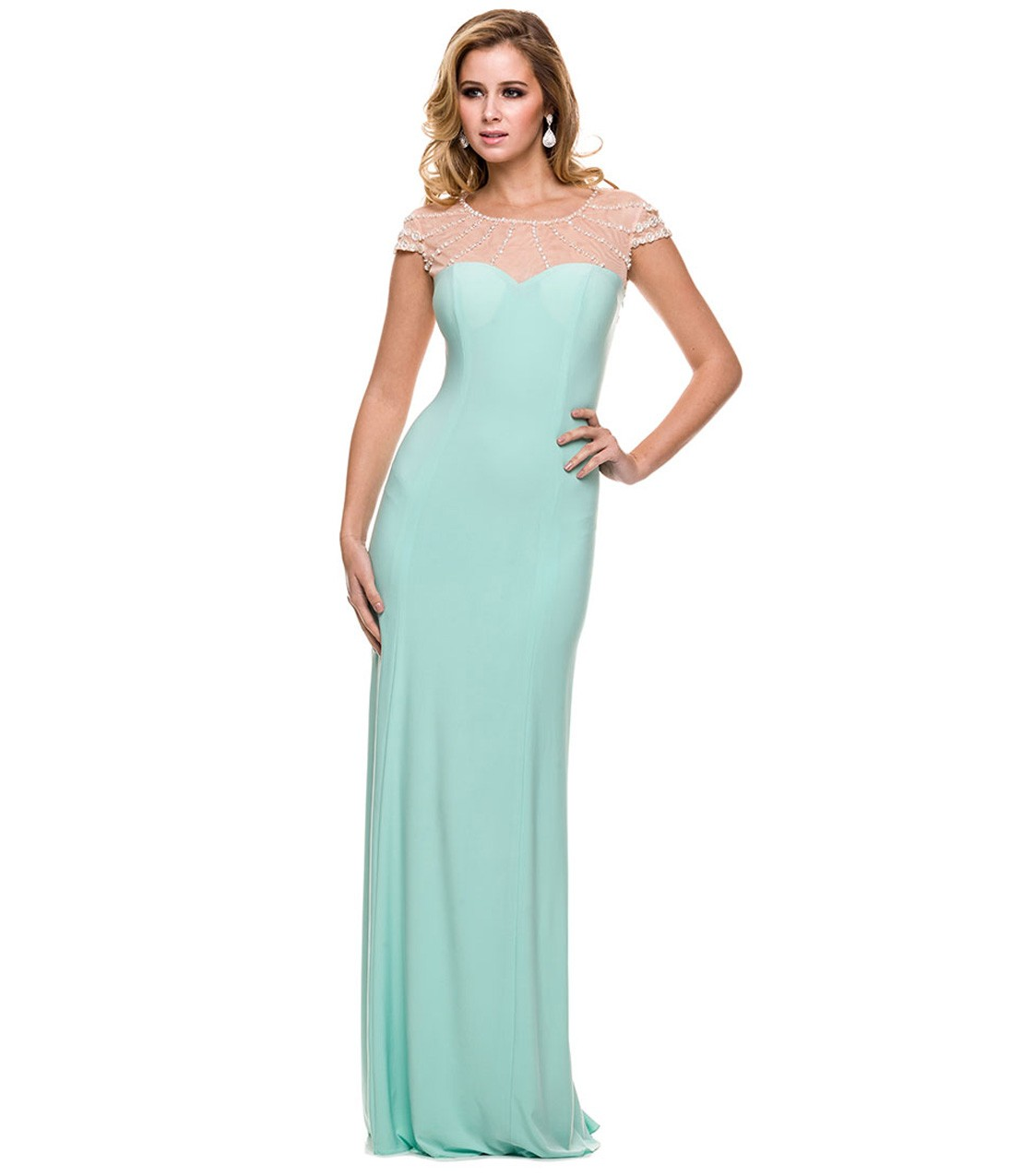 Chic Mint Long Jersey Illsuion Neck Long Prom Dress with Beading