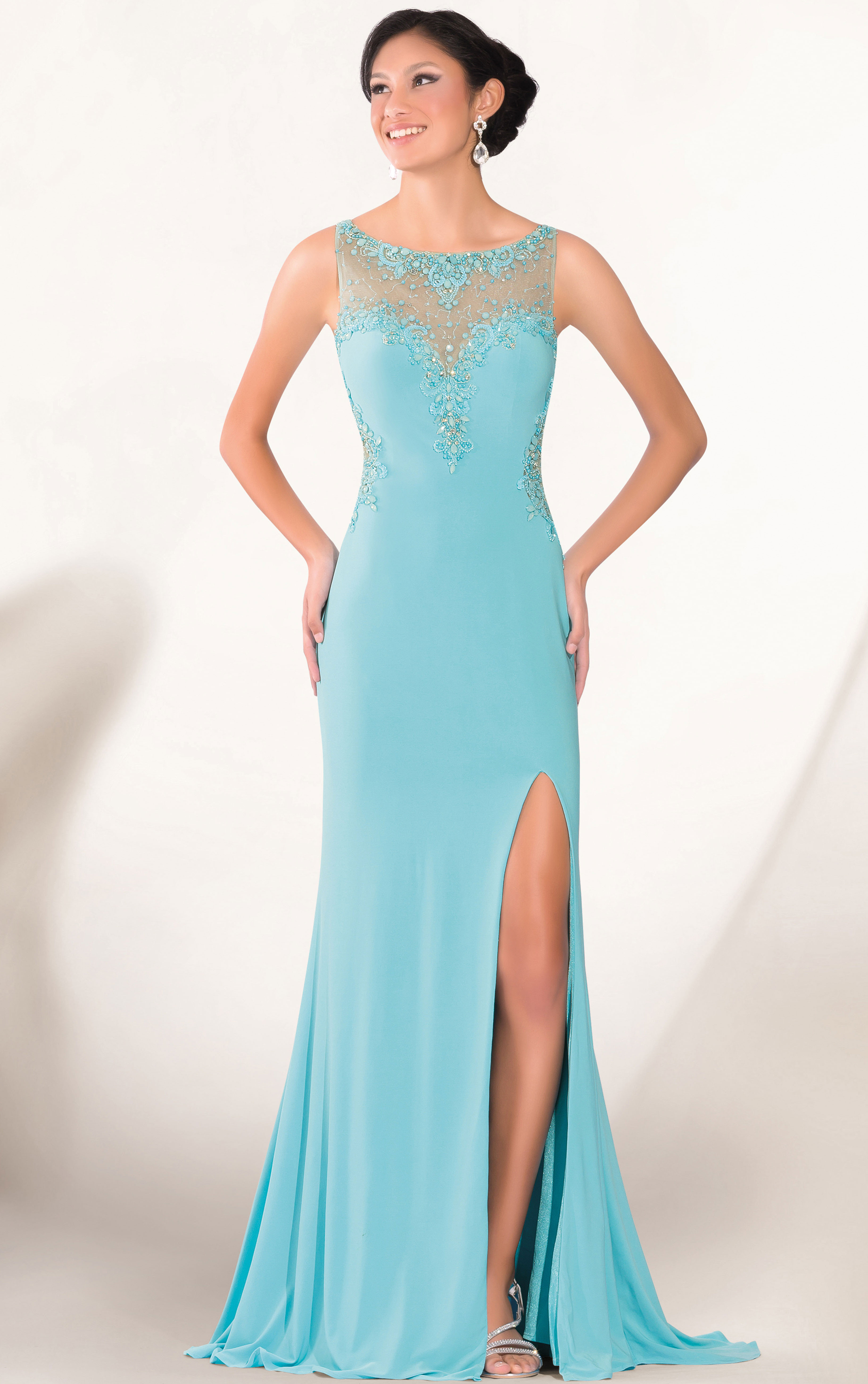 Sexy Bateau Sleeveless Beading Split Front Sweep Train Long Tight Jersey  Prom Dresses