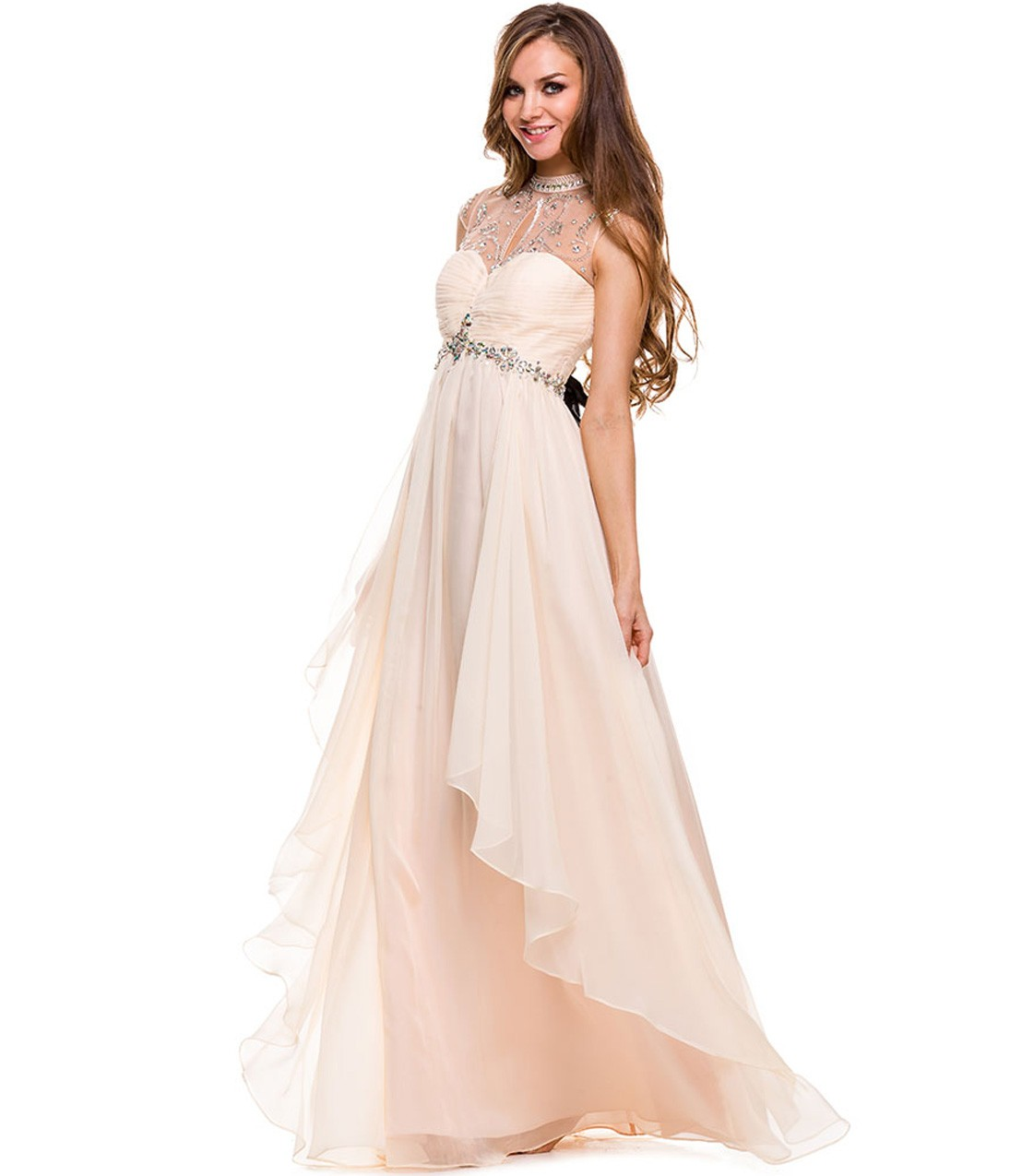 Vintage Halter Neck Crystal Detailling High Low Blush Chiffon Prom Dress