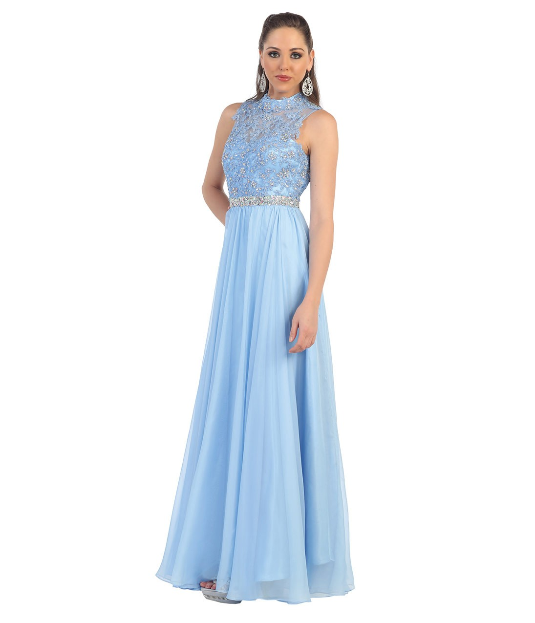 Halter Neck Beaded Lace Bodice Crystal Detailling Long A
