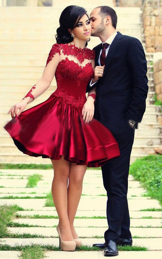 Illusion Jewel Neck Lace Bodice A-line Pleated Satin Ruby Red Short Prom Dress with Long Sleeves