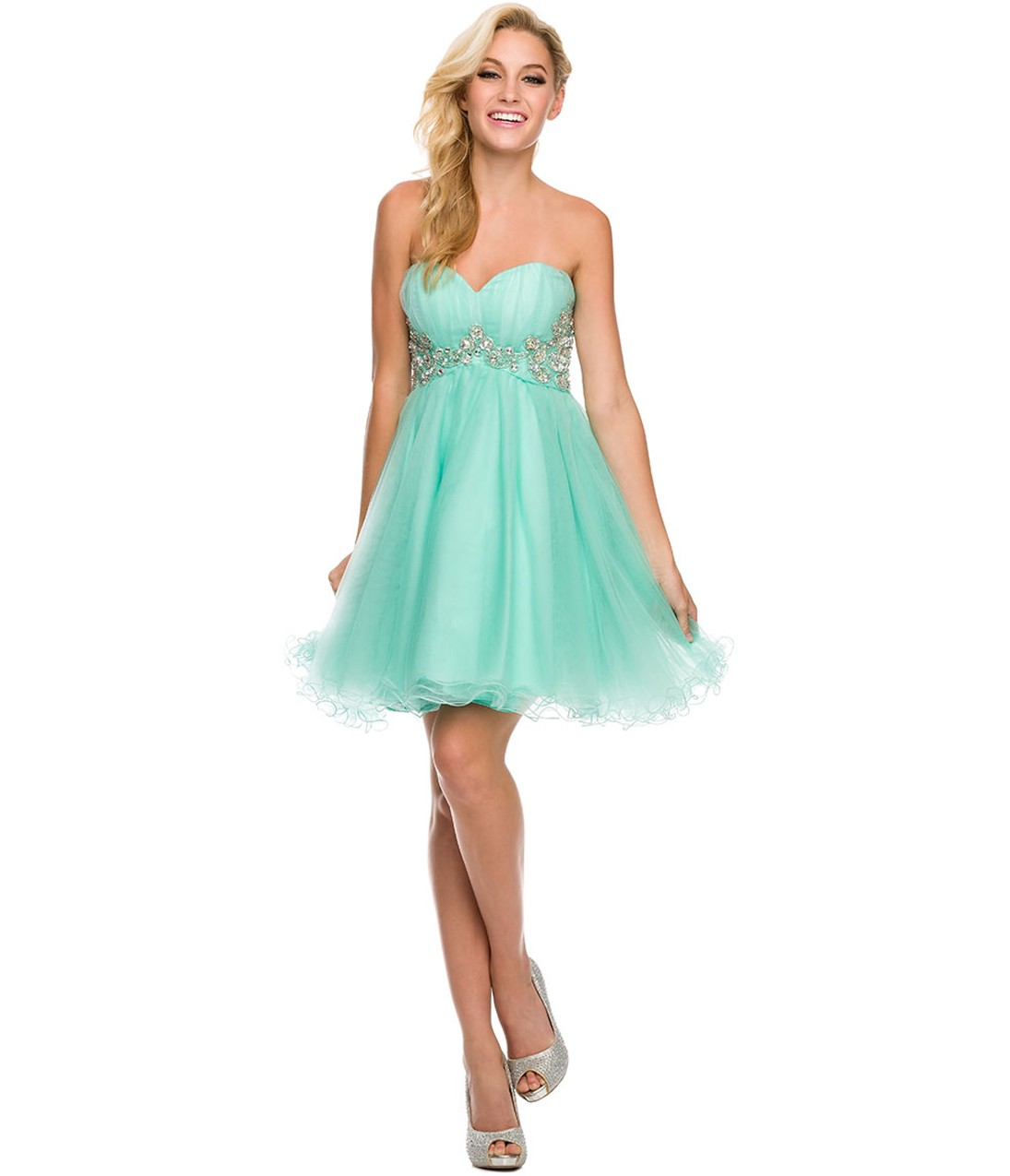 Strapless Sweetheart Pleated Short Chiffon Prom Dress with Crystals