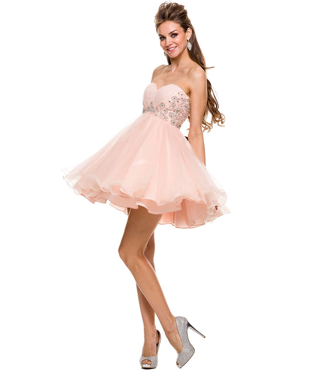 Pink Crystal Detailling Short Tulle Prom Dress