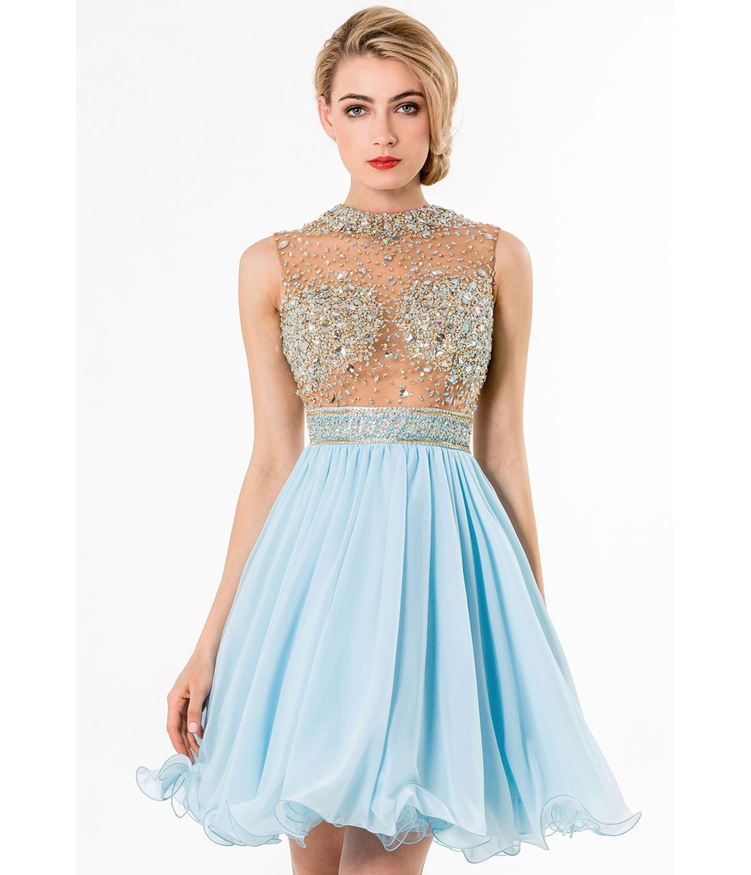 Sexy Sleeveless Sheer Beaded Bodice Short Blue Chiffon Prom Dress