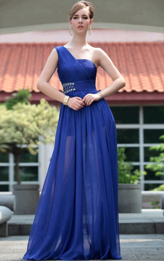 A-line One Shoulder Sleeveless Beading Ruching Floor-length 2017 Long Chiffon  Prom Dresses