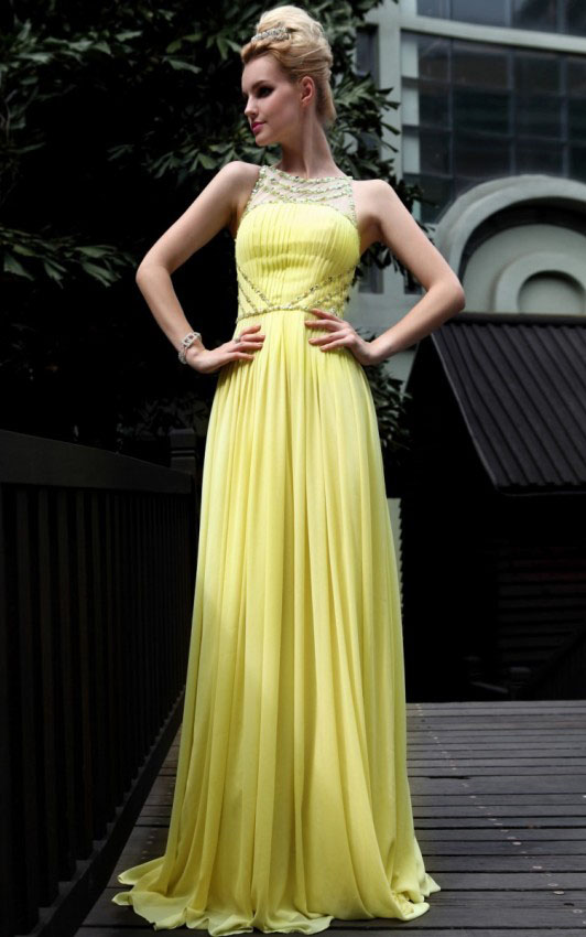 A-line Scoop Sleeveless Beading Floor-length Long Chiffon  Prom Dresses