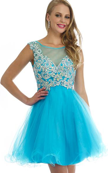 Bateau Illusion Neck A-line Lace Pattern Tulle Prom Dress