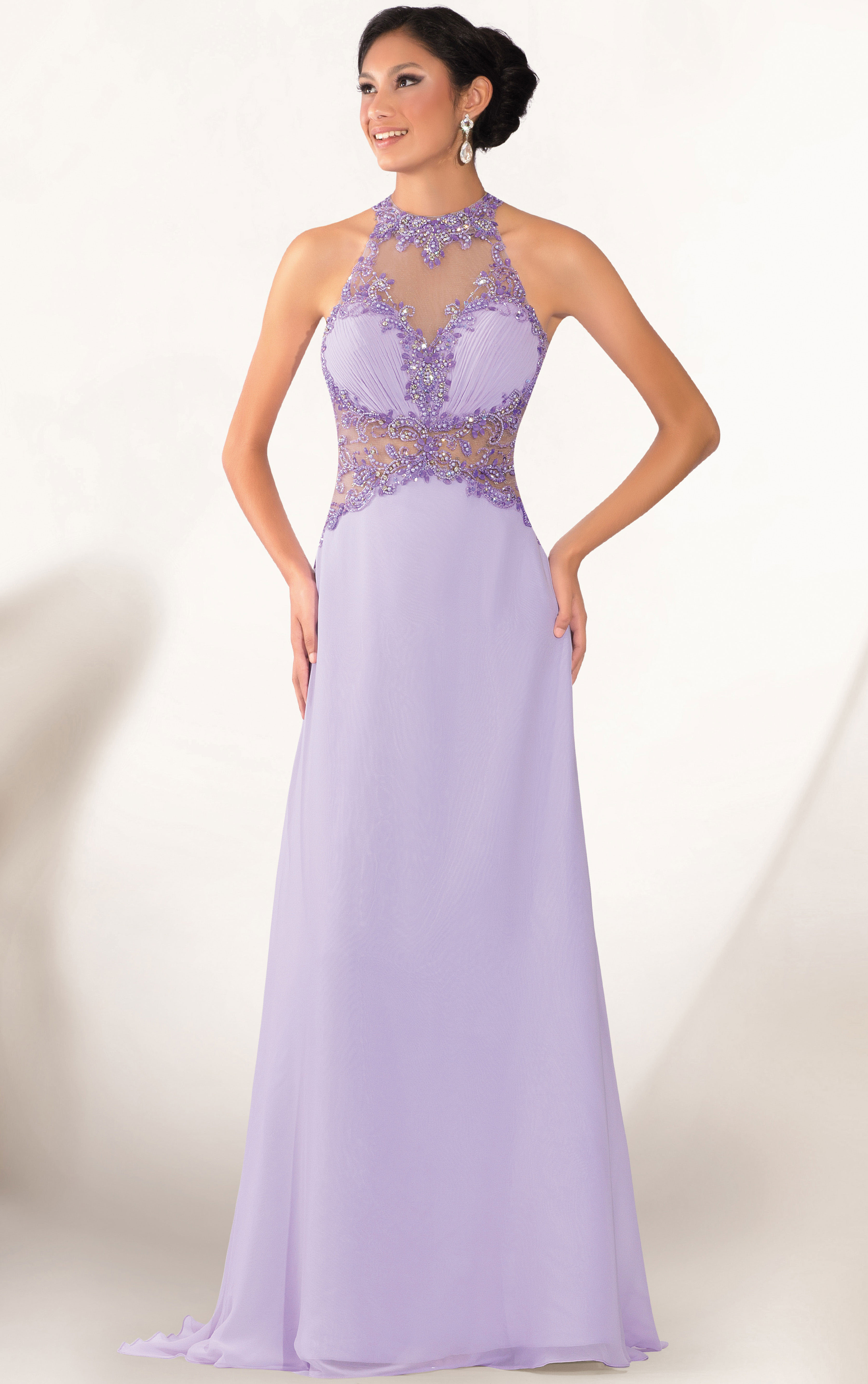 Sleeveless Halter Jewel Neck Crystal Detailling A-line Jersey Long Prom Dress