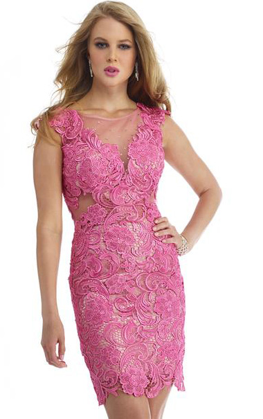 Candy Pink Illusion Bateau Neck Cap Sleeved Sheath Short Prom Dress