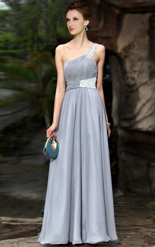 Sleeveless One Shoulder Beaded Long Chiffon A-line Prom Dress with Beaded Waist
