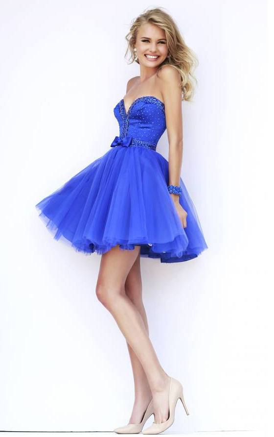 Strapless Sweetheart Slim Fitted Bodice Short Royal Blue Tulle Prom Dress