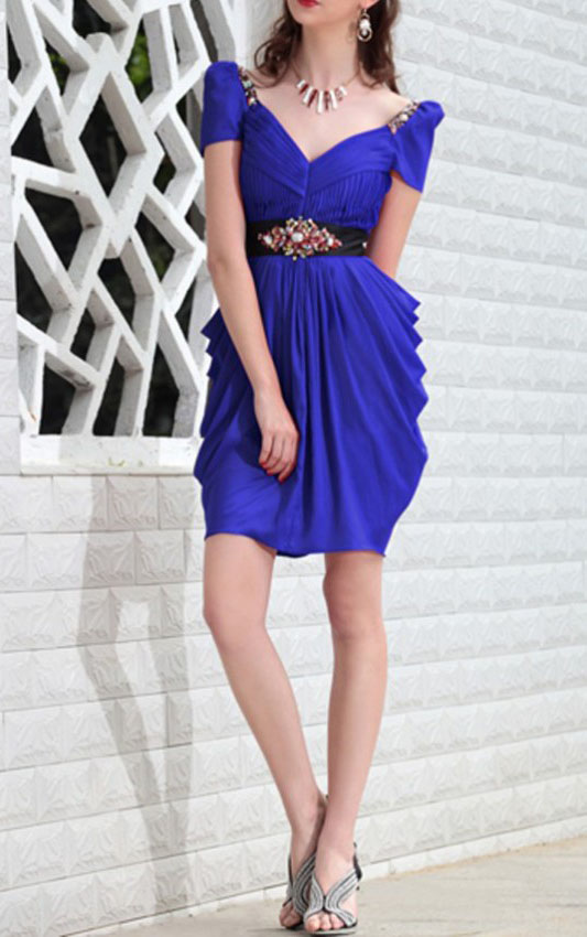 Short Sleeved Side Drapped V Necj Sheath Chiffon Prom Dress with Crystal Brooch