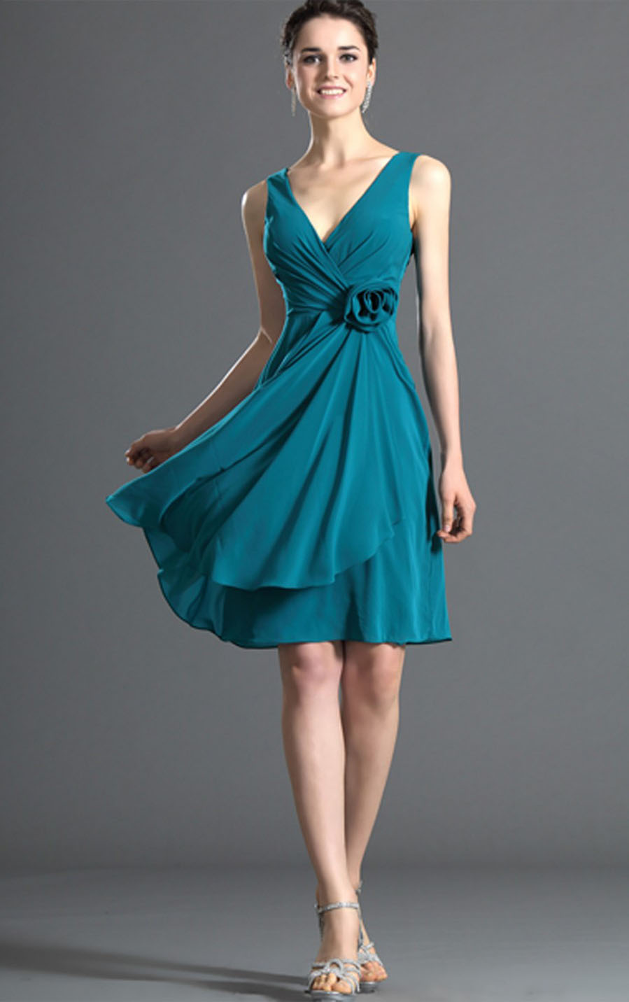 Modest Sleeveless One Shoulder Sheath Knee Lengh Chiffon Prom Dress with Hand Made Flower