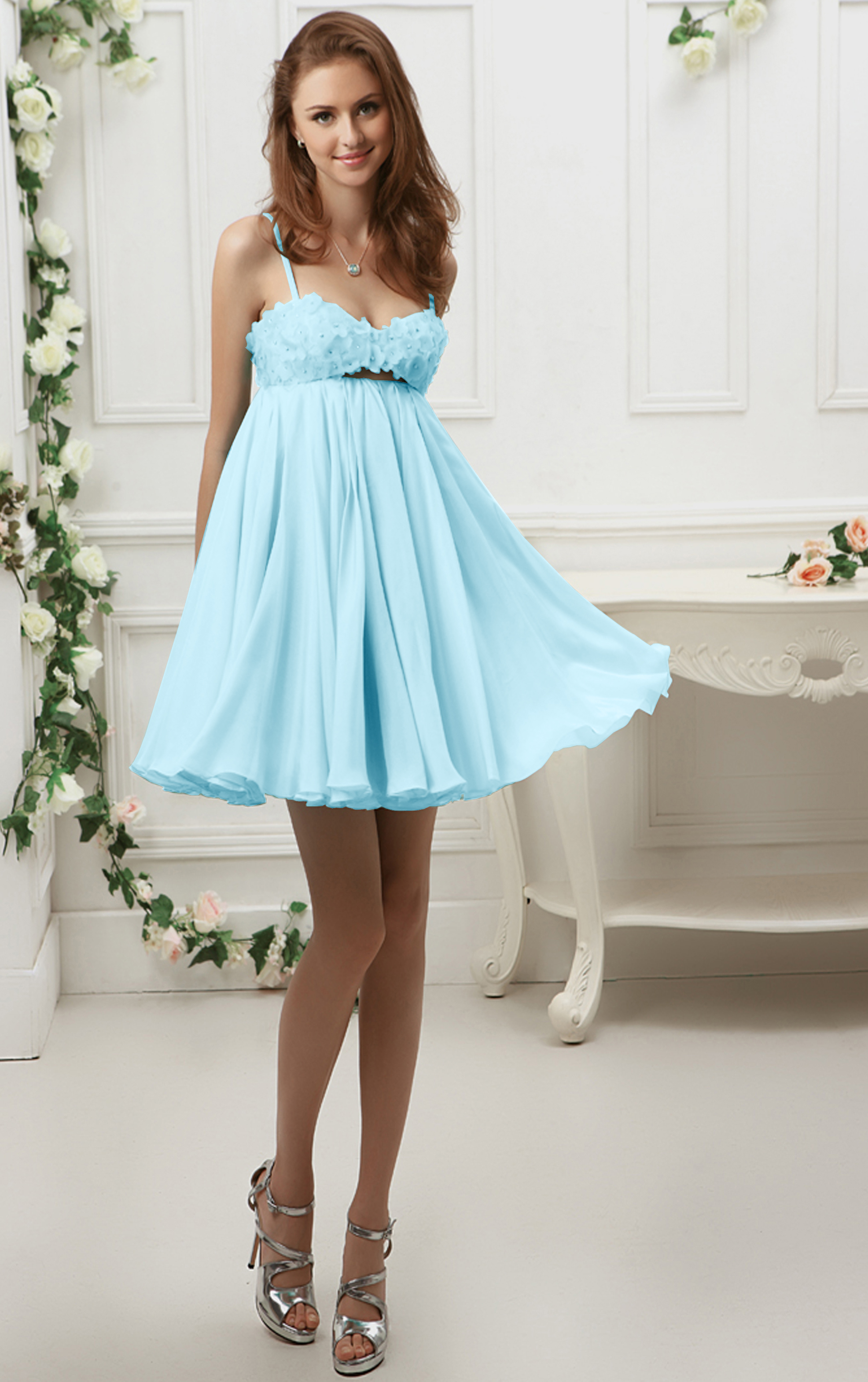 Spaghetti Straps Short Backless Chiffon Prom Dress with Flowers