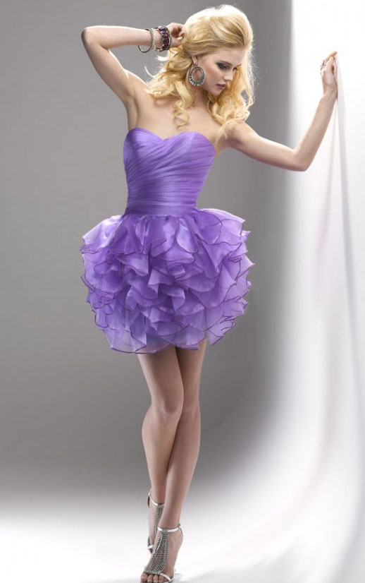 Pretty Strapless Sweetheart Pleated Short Ruffled Prom Dress