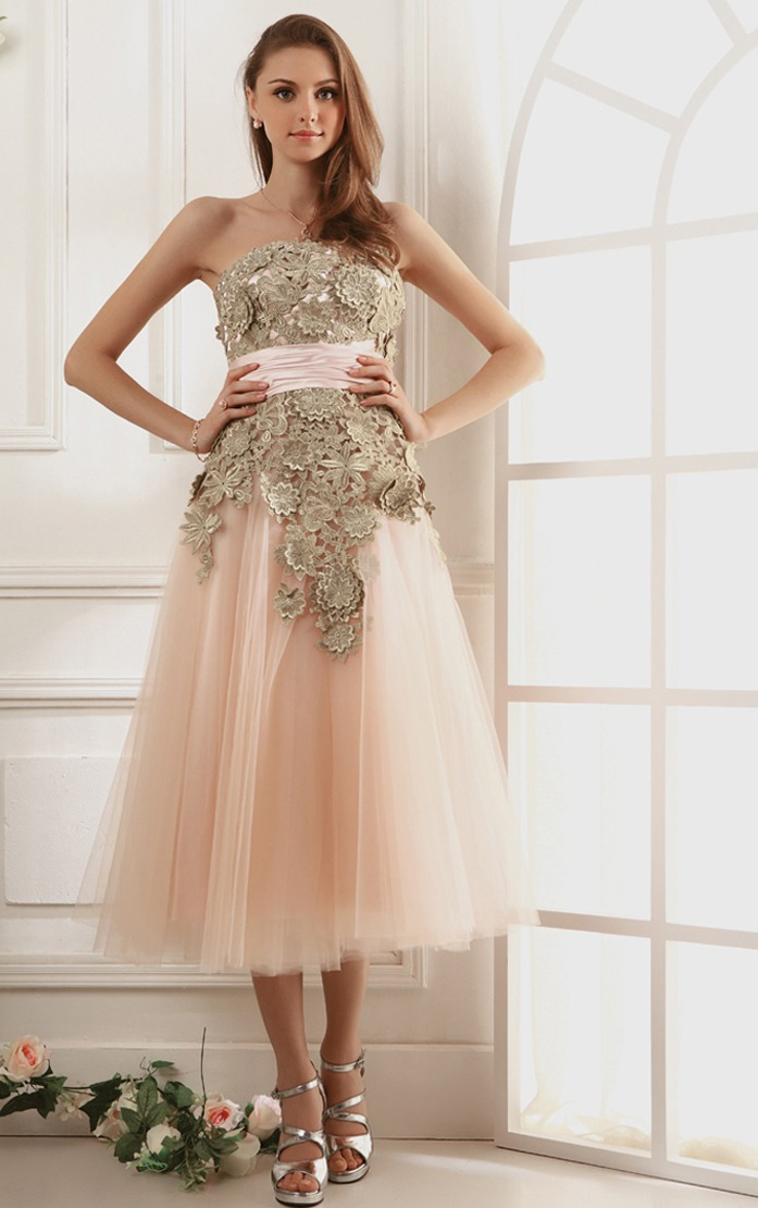 Vintage Tea Length Pink Tulle Prom Dress with Retro Lace