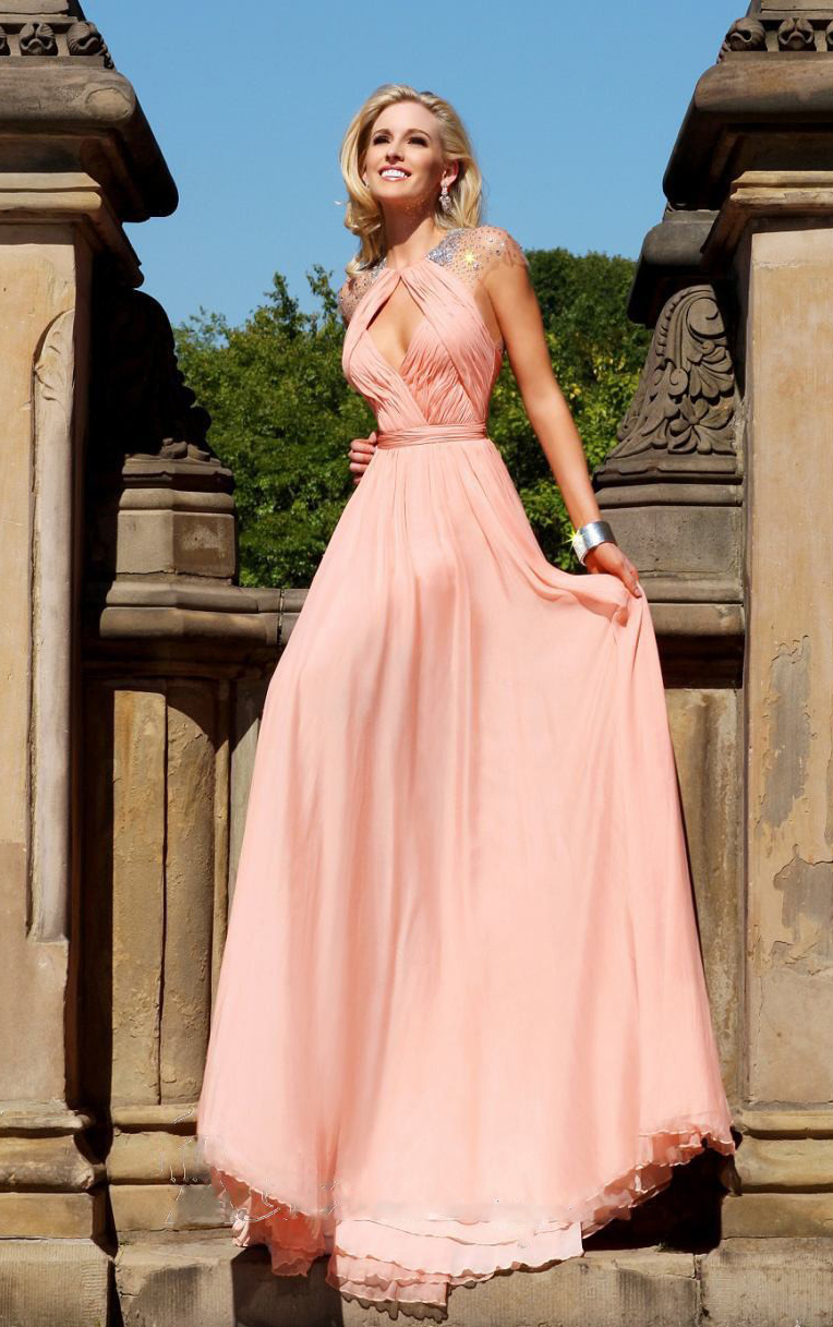 7af83cd238a4 Peach Pink Jewel Neck Cap Sleeved Sequin Beaded Long Pleated Chiffon Prom  Dress with Keyhole Back