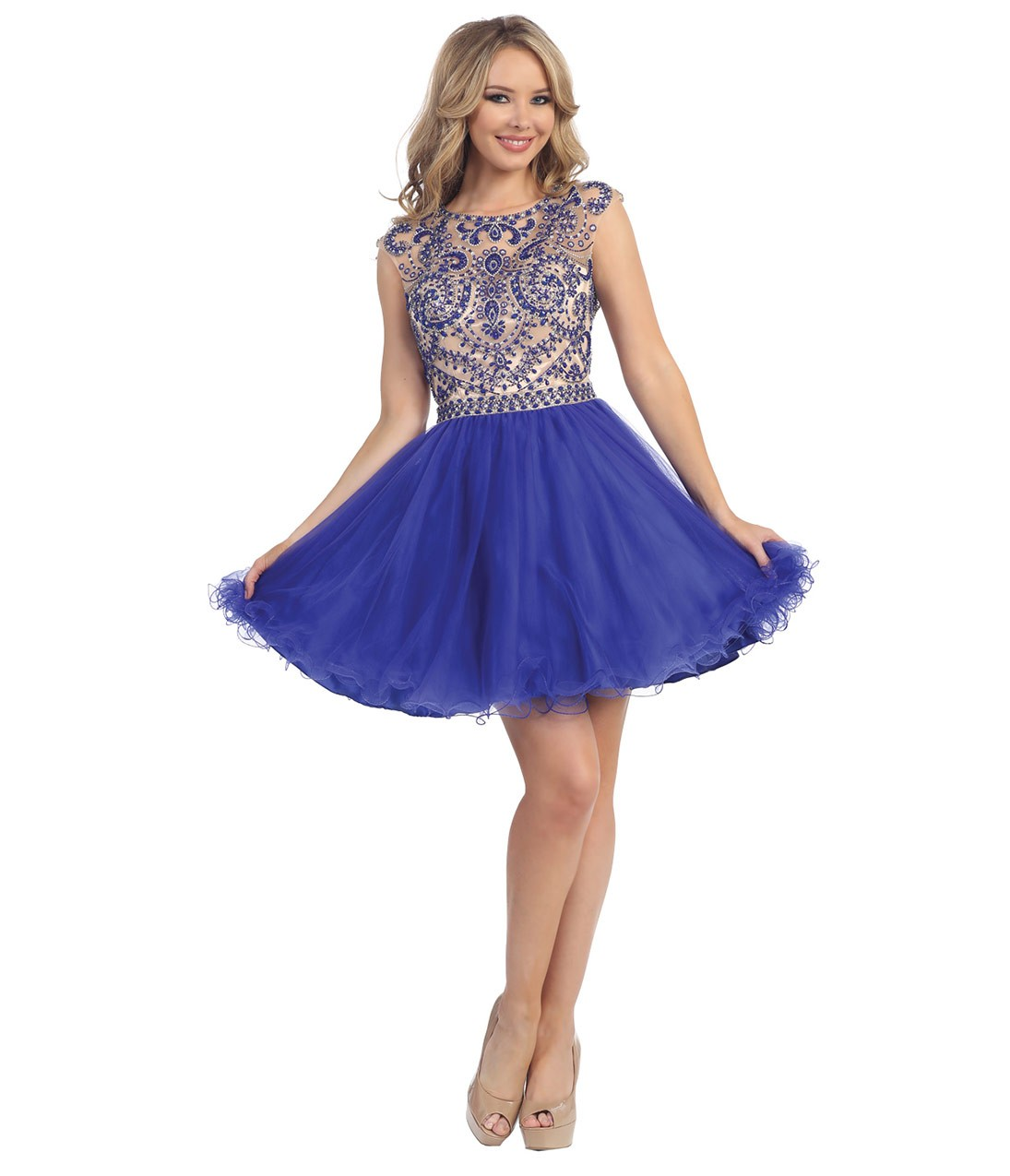 Sleeveless Bateau Neck Beaded Bodice Short Chiffon Prom Dress