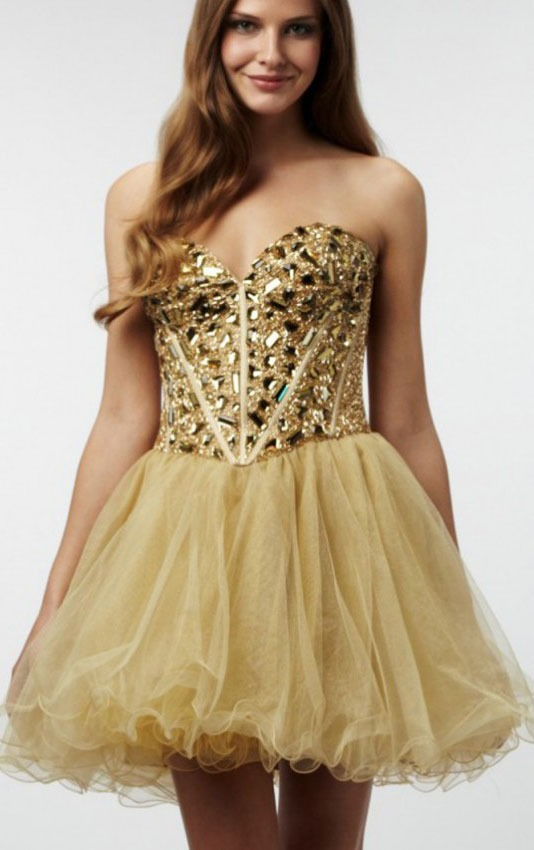 Beaded Bodice Strapless Sweetheart Short A-line Tulle Prom Dress