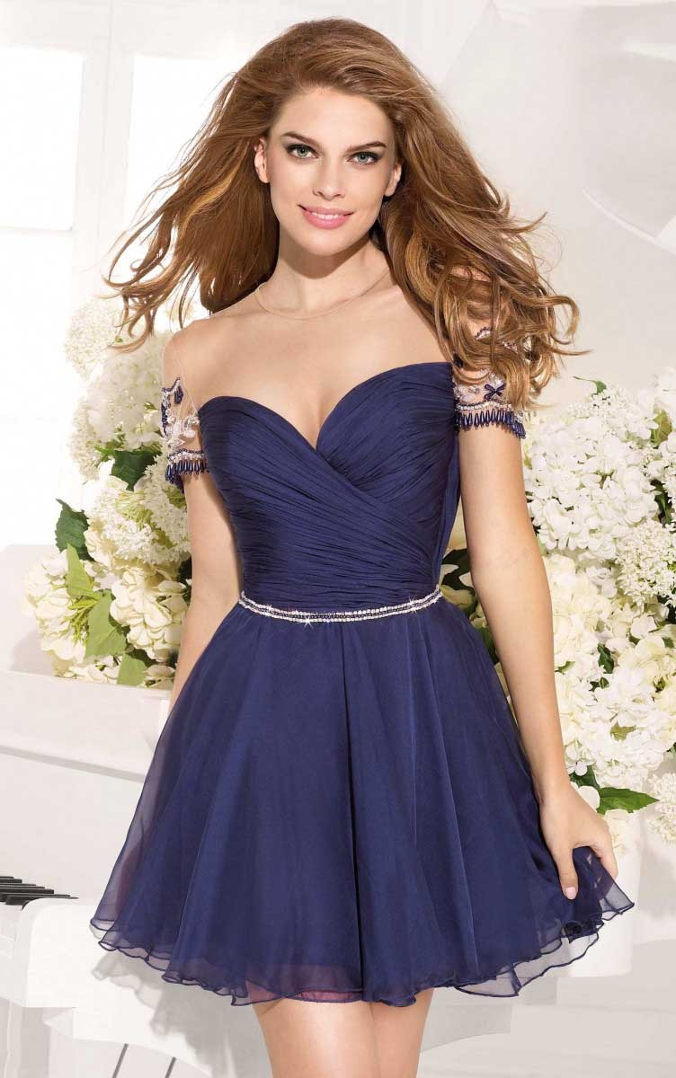 Chic Illusion Bateau Neck Short Sleeved A-line Chiffon Prom Dress