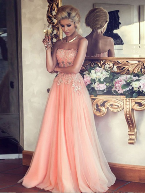 Classical Strapless Sweetheart Corset Lace Bodice A-line Tulle Prom Dress