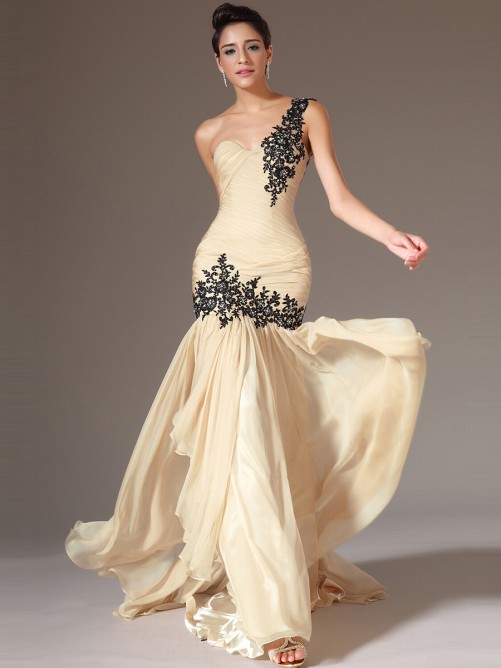 One Shoulder Sleeveless Dropped Pleated Long Chiffon Prom Dress with Black Lace