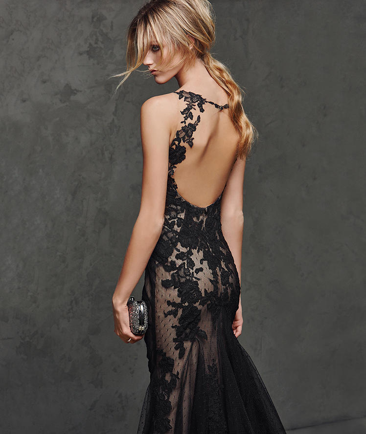 Sexy Black Lace overlay Tulle Shoulder Straps Mermaid Keyhole Back Prom Dress