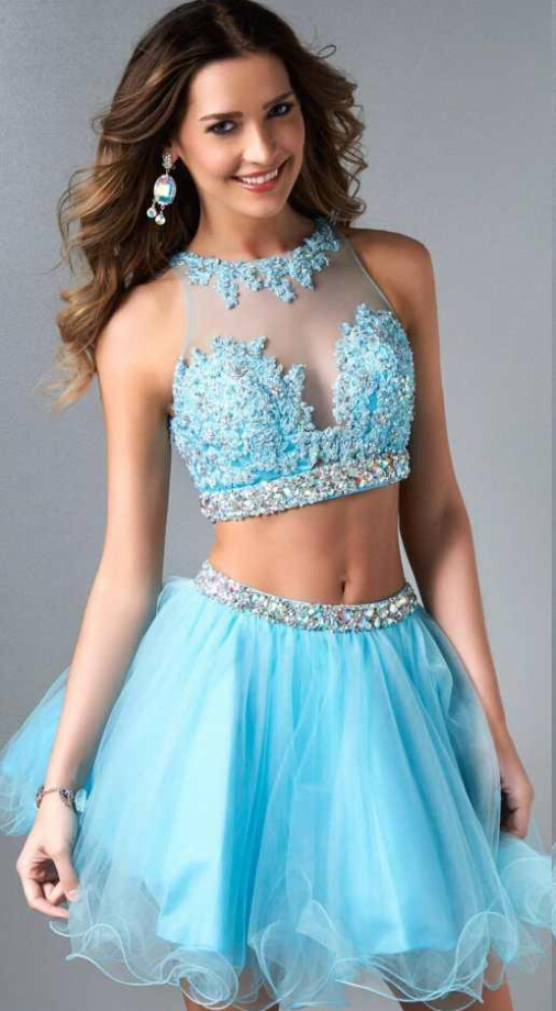 Two Piece Jewel Neck Lace Embroidered Short Tulle Prom Dress with Beading