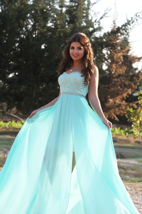 Hot Sale Split Long Chiffon Lace Top Prom Dress with Crystal Belt
