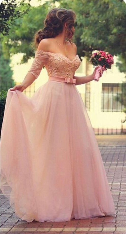 Fancy off the Shoulder Sparkle Beaded Bodice A-line Peach Chiffon Prom Dress with Bow Ribbon